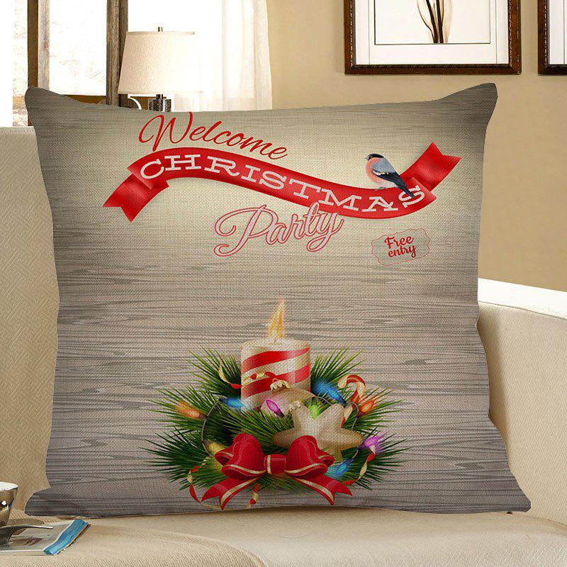 Christmas Candle Pattern Square Pillow Case - COLORFUL W18 INCH * L18 INCH
