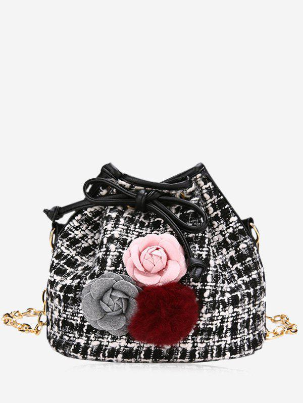 Pom Pom Flower Plaid Drawstring Crossbody Bag - BLACK