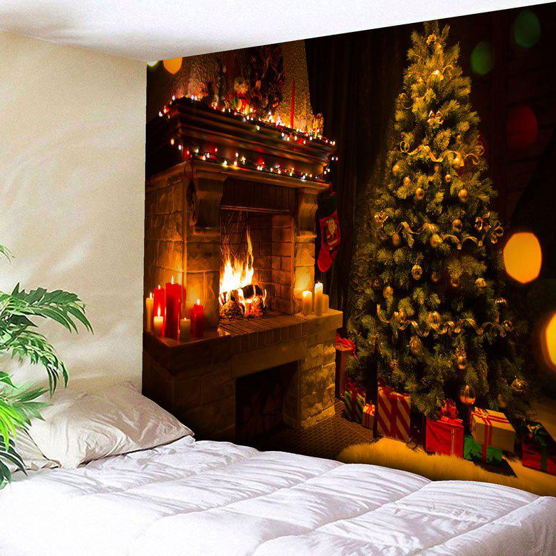 Christmas Tree Fireplace Wall Hanging Tapestry christmas tree photography background christmas lights fireplace wall decors backdrop xt 4525