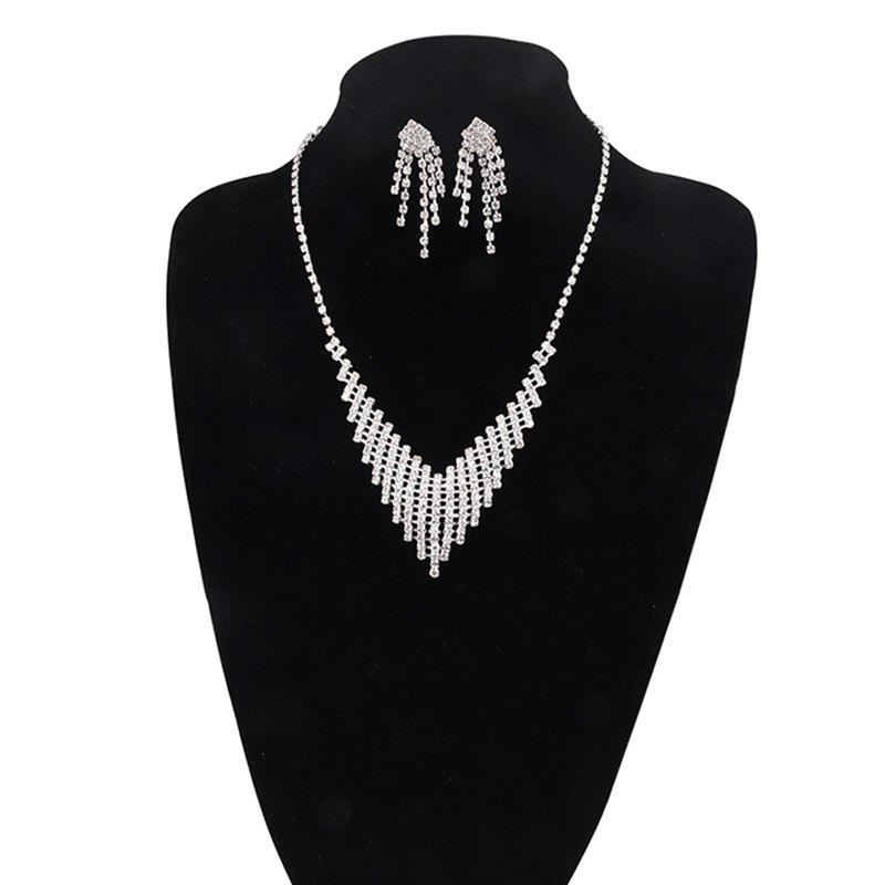 Rhinestone Fringed Necklace with Earring Set - SILVER