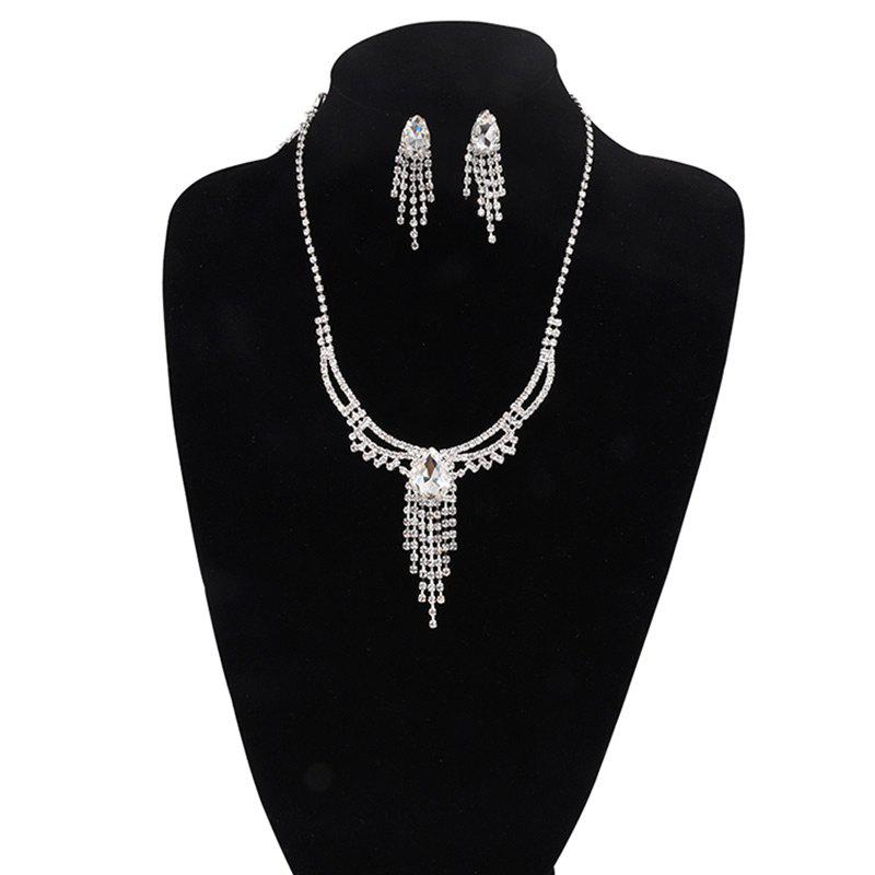 Rhinestoned Teardrop Fringed Jewelry Set - SILVER