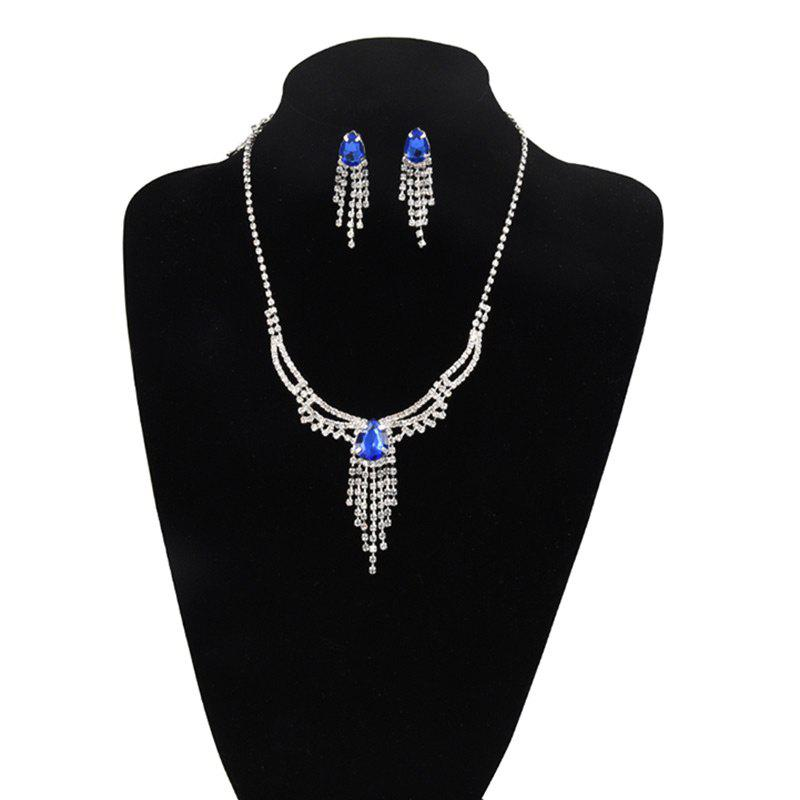 Rhinestoned Teardrop Fringed Jewelry Set - BLUE