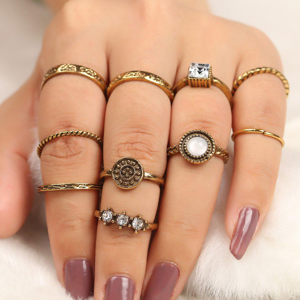 Rhinestone Antique Geometric Finger Ring Set - GOLDEN