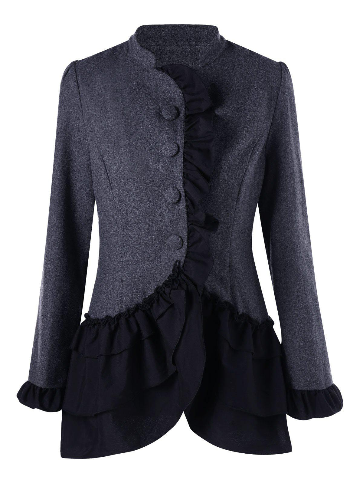 Ruffle Layered Coat - DEEP GRAY XL