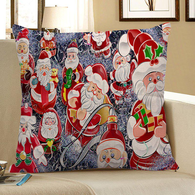 Santa Claus Printed Throw Pillow Case santa claus elk cart snowflakes printed pillow case