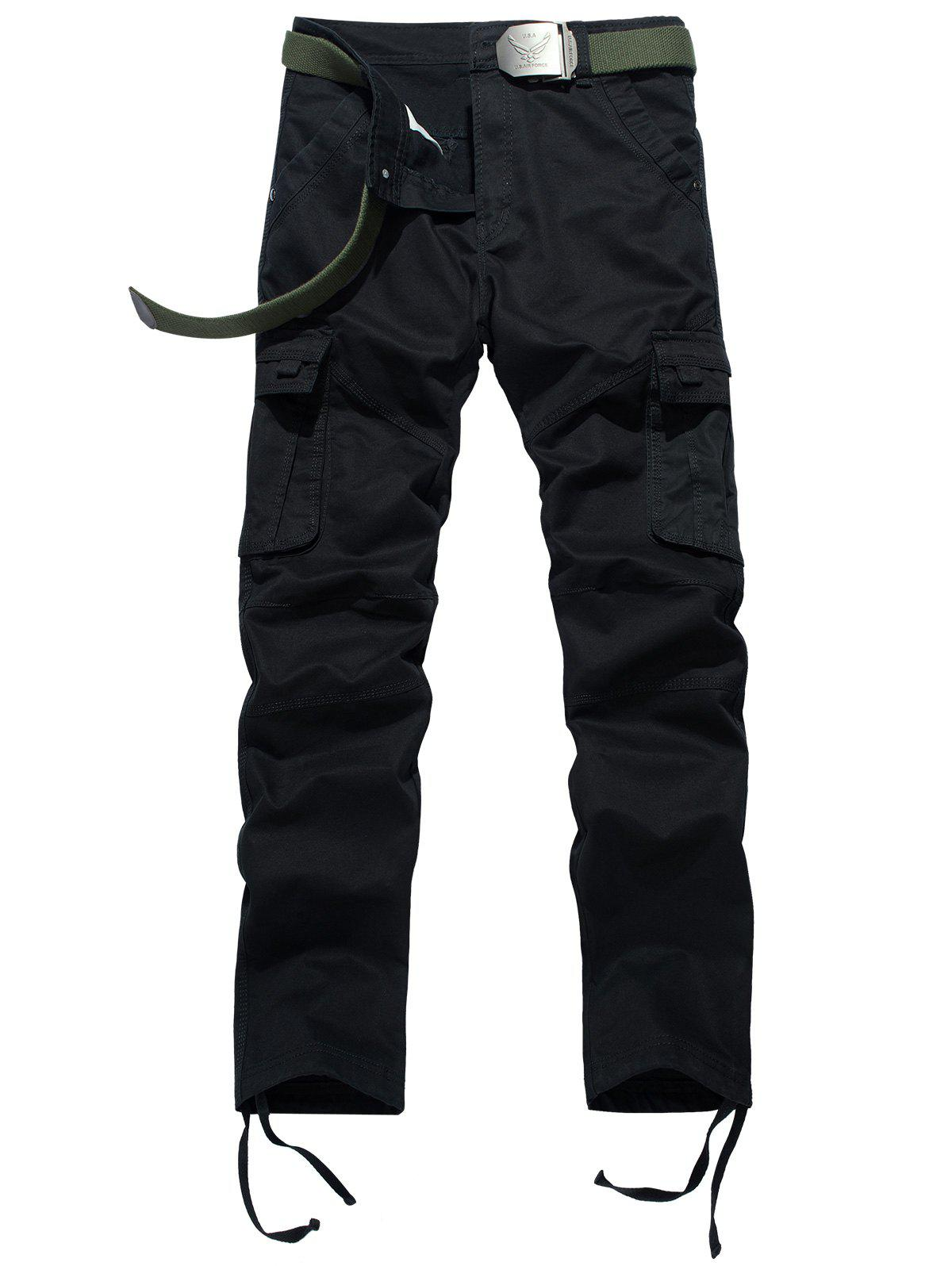 Drawstring Feet Pockets Cargo Pants - BLACK 38
