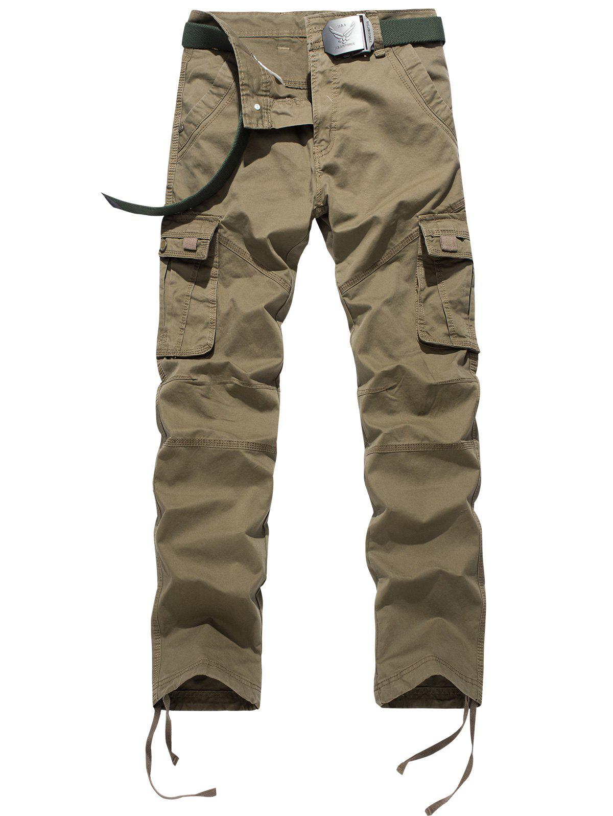 Drawstring Feet Pockets Cargo Pants - KHAKI 34