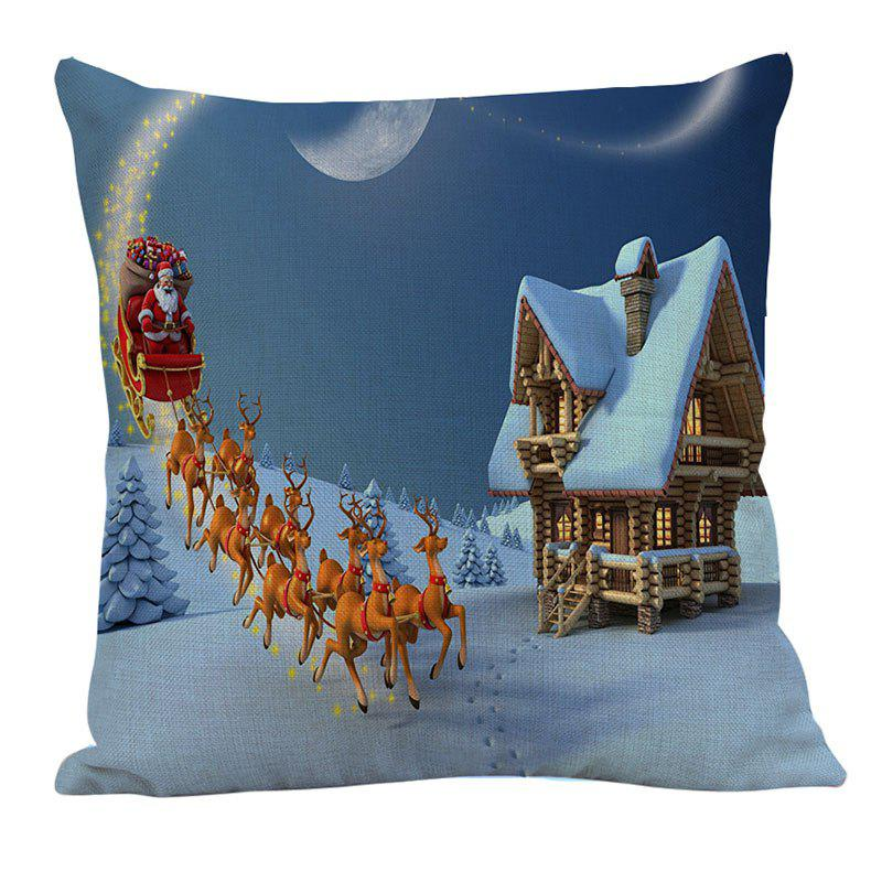 Santa Claus Carriage Snow House Patterned Pillow Case - COLORFUL W18 INCH * L18 INCH