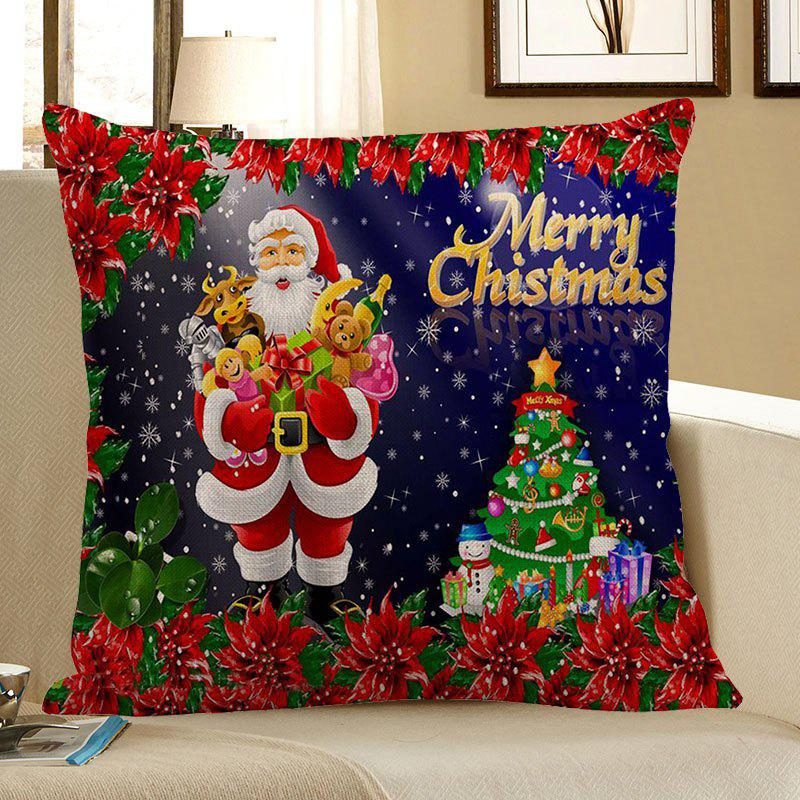 Santa Claus With Gifts Flowers Printed Pillow Case - COLORFUL W18 INCH * L18 INCH