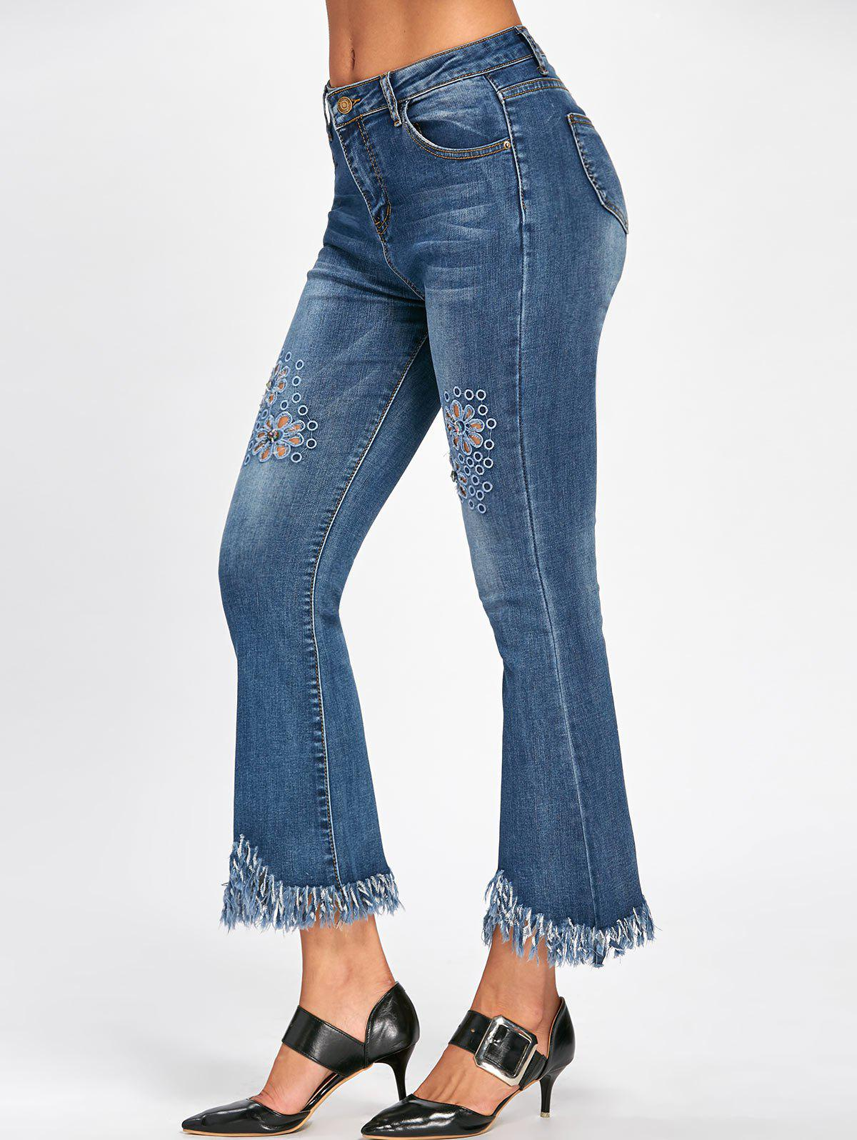 Hollow Out Cat's Whisker Fringe Nine Minutes of Jeans - BLUE XL