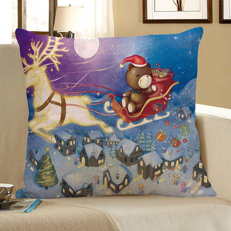 Snow Town Christmas Reindeer Cart Patterned Pillow Case - COLORFUL W18 INCH * L18 INCH