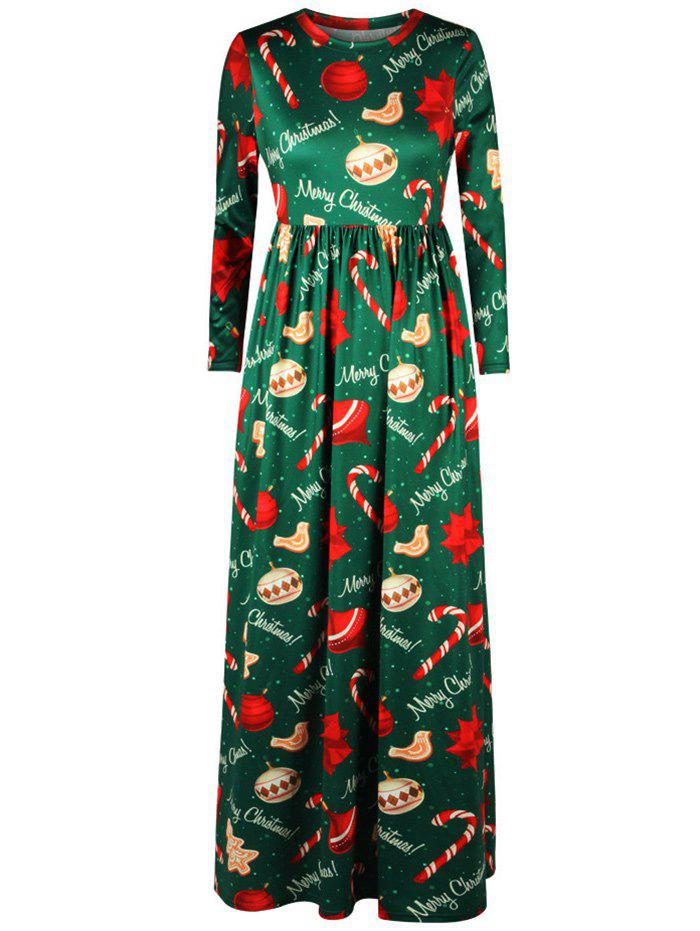 Merry Christmas Tree Print Maxi Dress - GREEN M