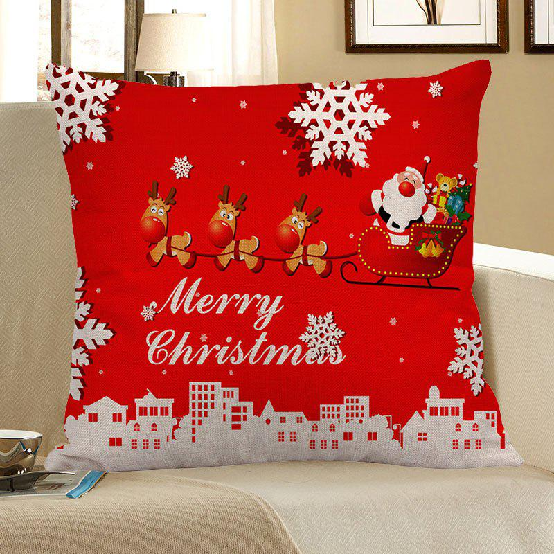 Santa Claus Elk Cart Snowflakes Printed Pillow Case santa claus printed throw pillow case