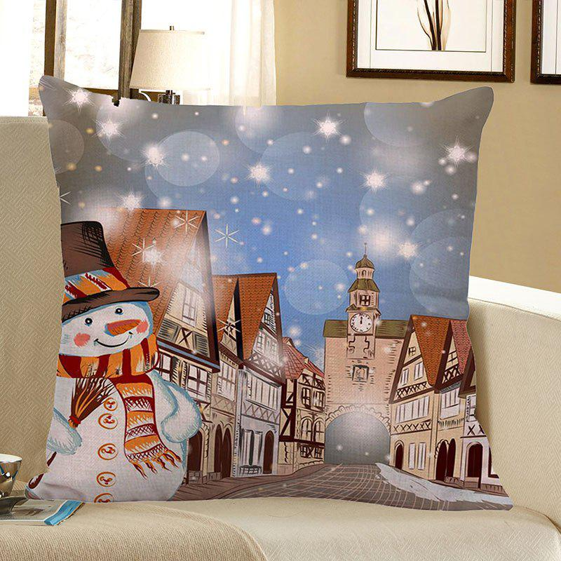 Christmas Snowman Town Patterned Throw Pillow Case - COLORFUL W18 INCH * L18 INCH