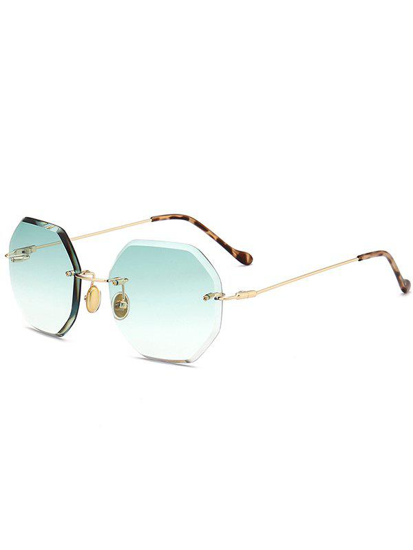 Ombre Lens Round Hexagons Rimless Sunglasses - LIGHT GREEN