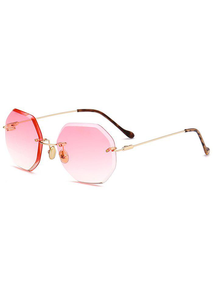 Ombre Lens Round Hexagons Rimless Sunglasses - PAPAYA