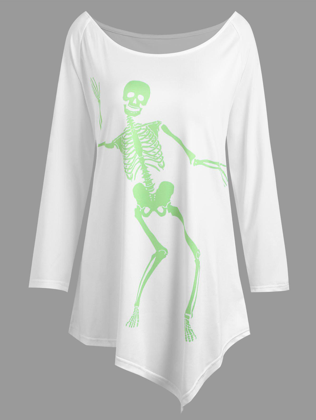Plus Size Halloween Skeleton Asymmetrical Tee цифровой плеер digma b3 8gb синий b3bl