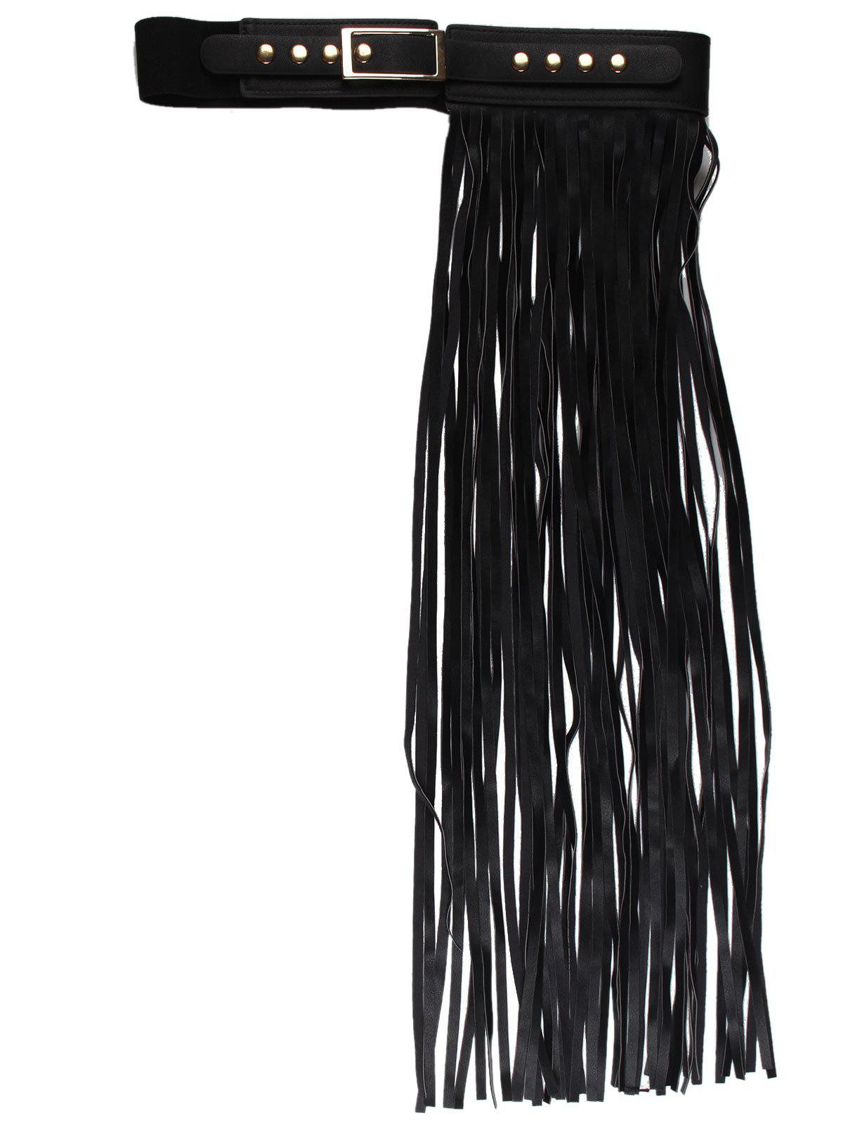 PU Leather Half Side Long Fringed Belt - BLACK