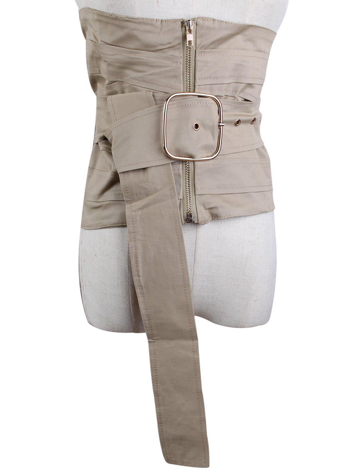 Large Pin Buckle Detachable Zip Up Corset Belt - LIGHT KHAKI