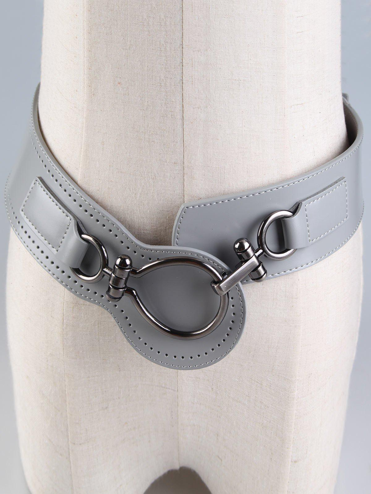 Faux Leather Large Metal Clasp Wide Belt - GRAY