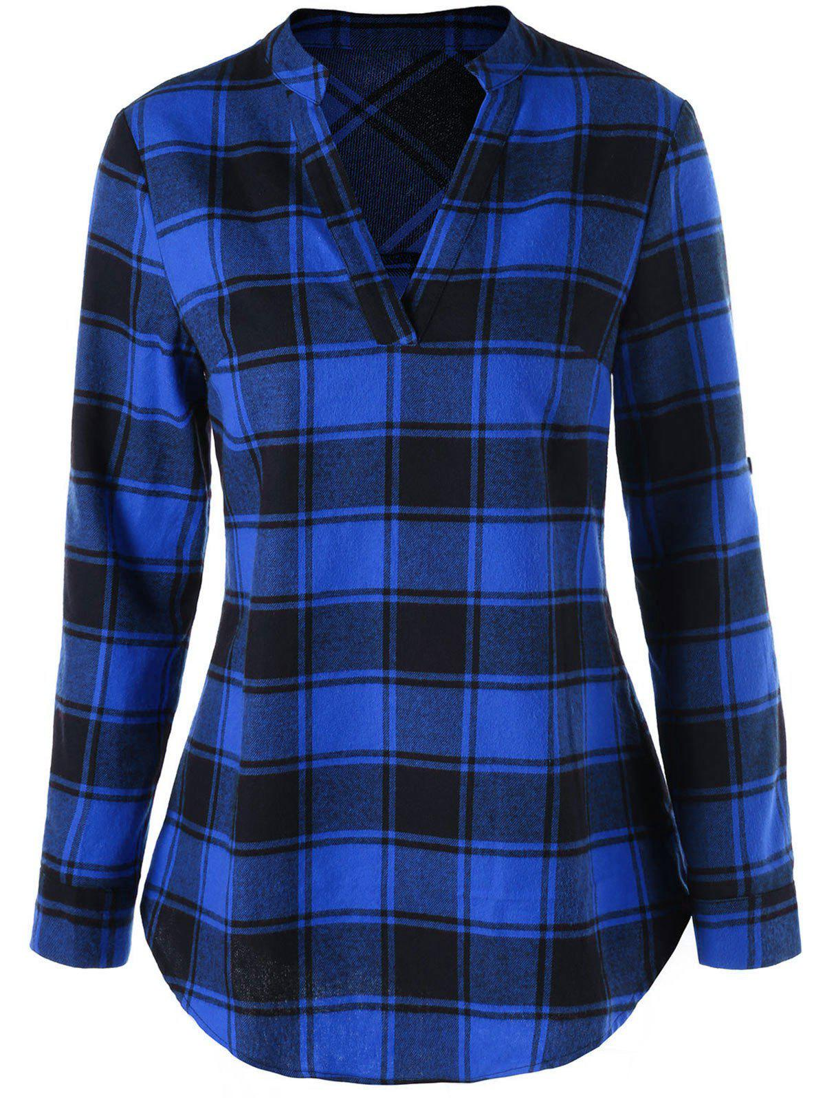 Curved Hem Plaid Blouse