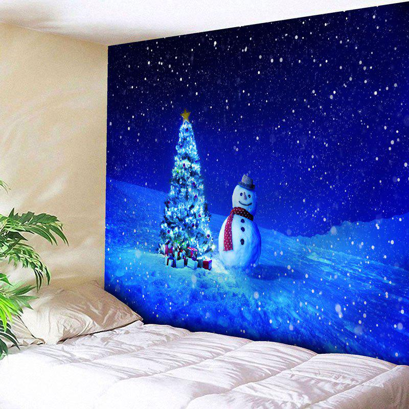 Christmas Tree Snowman Printed Wall Tapestry christmas tree snowman printed wall tapestry