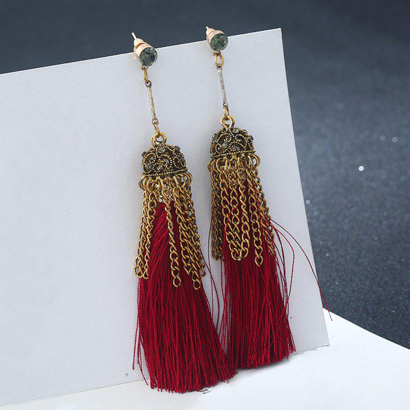 Tiny Rhinestone Chain Design Alloy Tassel Earrings - RED
