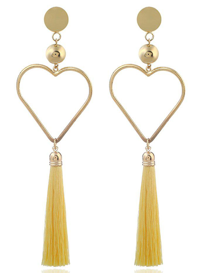 Statement Alloy Heart Tassel Earrings - YELLOW