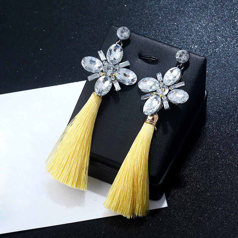 Vintage Faux Crystal Tassel Floral Earrings - YELLOW