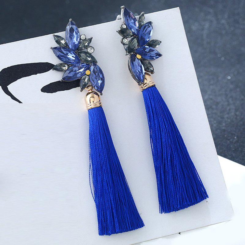 Alloy Faux Crystal Tassel Drop Earrings - BLUE