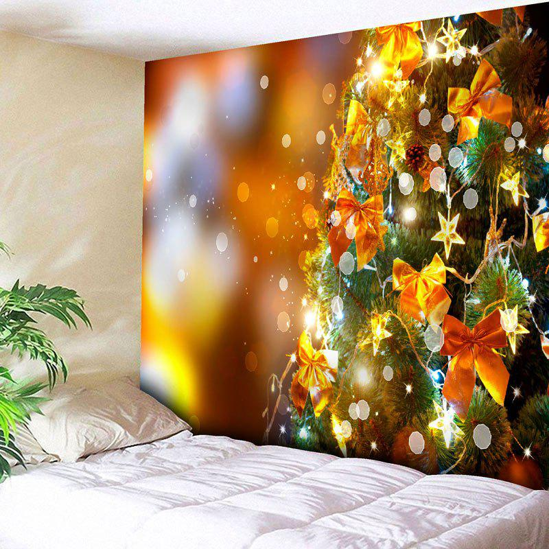 2018 Christmas Tree Star Bowknot Wall Decor Tapestry GOLDEN W INCH L ...