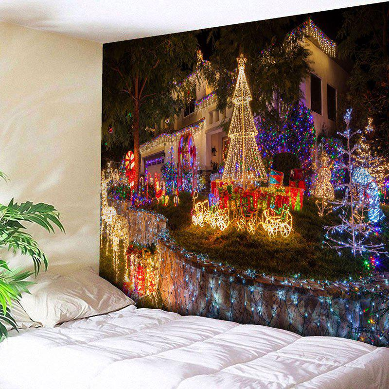 Christmas Paradise Printed Wall Tapestry christmas town snow moon wall tapestry
