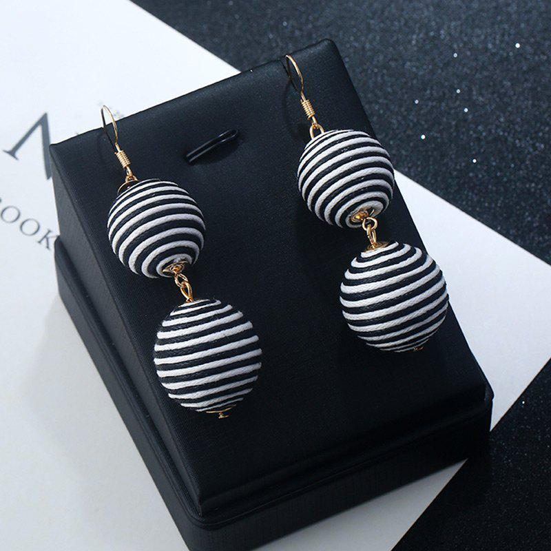 Double Ball Hook Earrings - BLACK STRIPE