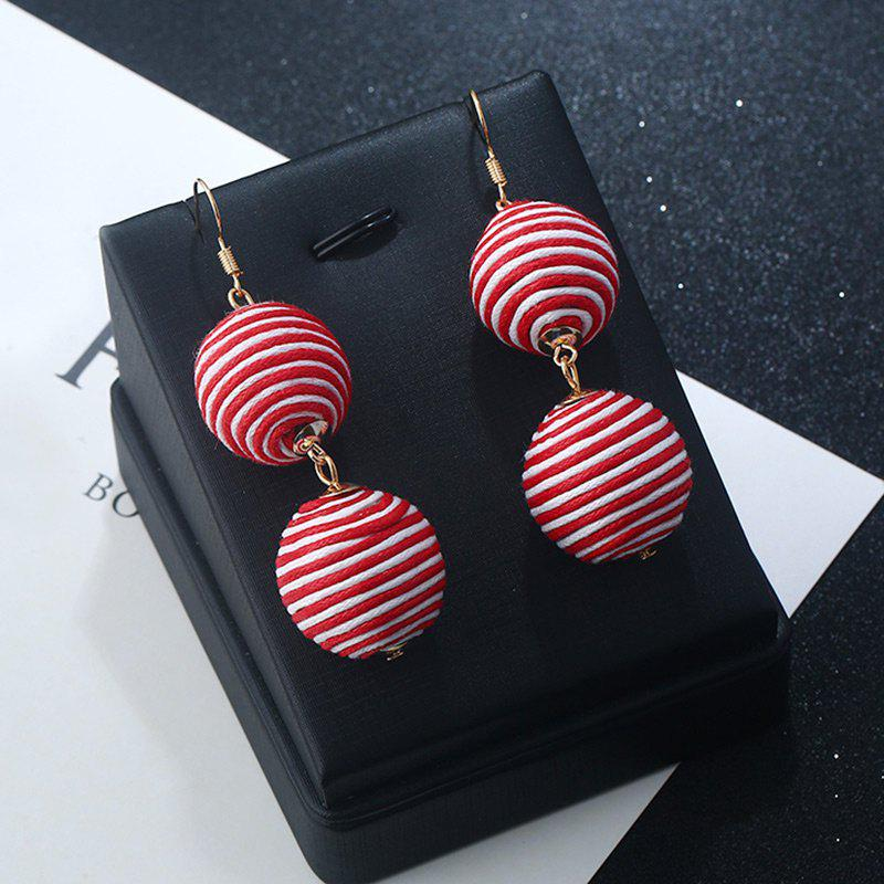 Double Ball Hook Earrings - RED STRIPE