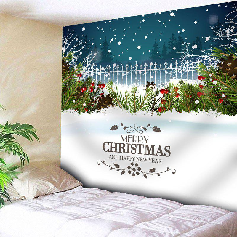 Wall Art Christmas Snow Graphic Tapestry christmas town snow moon wall tapestry