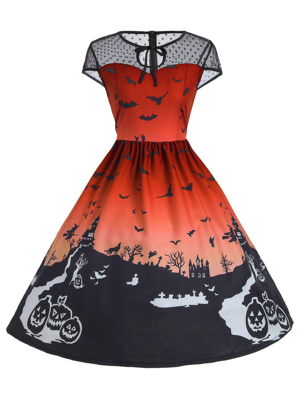 Robe Halloween Vintage à Empiècement en Dentelle - Orange S