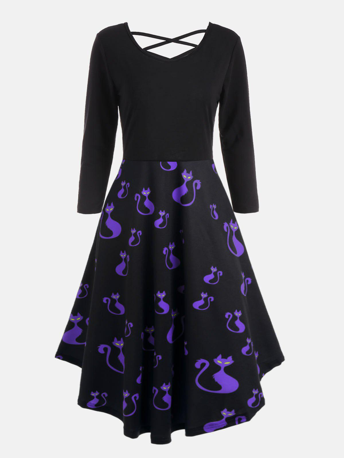 Halloween Pumpkins Cats Print Plus Size Flare Dress some pumpkins