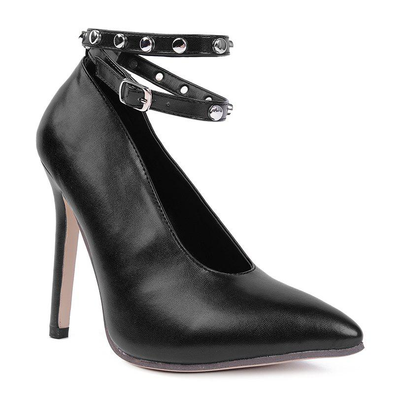 Studs Ankle Strap Point Toe Pumps - BLACK 37