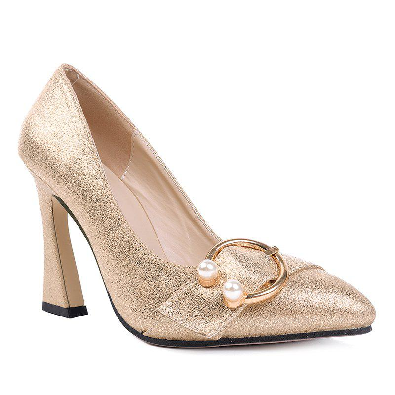 Faux Pear Metal Ring Glitter Pumps - GOLDEN 39