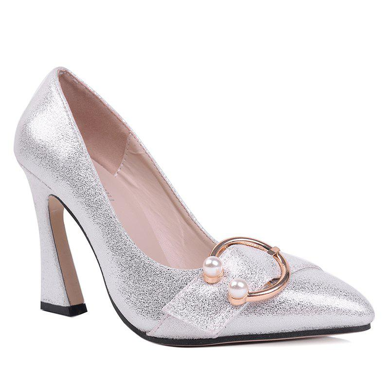 Faux Pear Metal Ring Glitter Pumps - SILVER 39