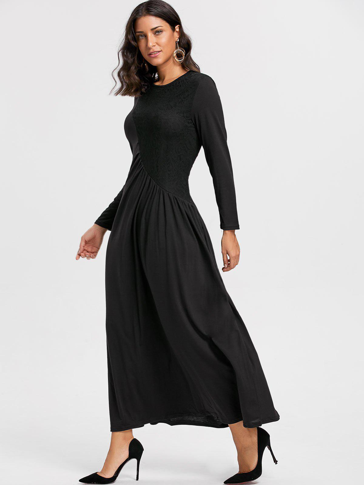 Long Sleeve Lace Insert Ruched Maxi Dress - BLACK XL