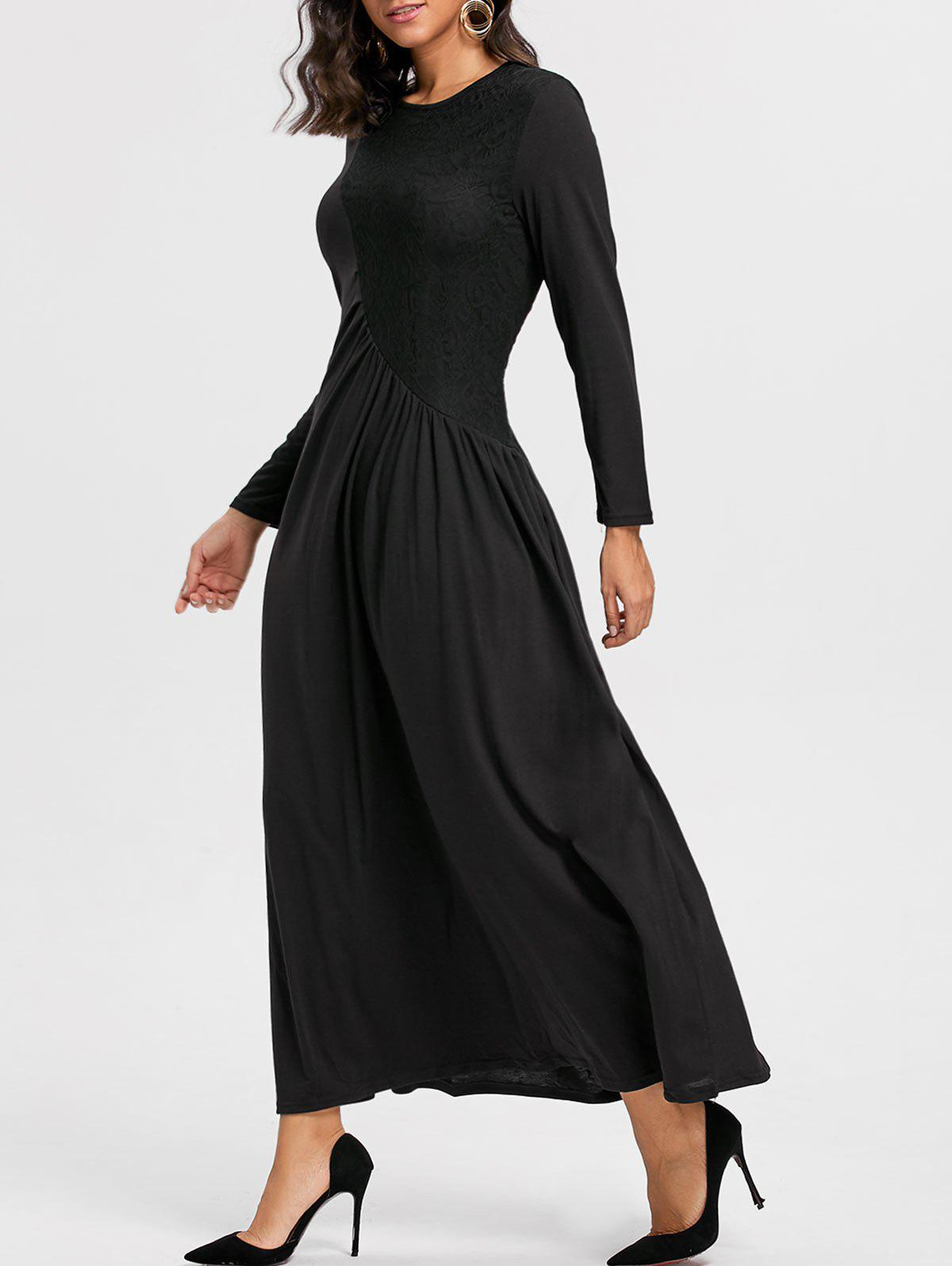 Long Sleeve Lace Insert Ruched Maxi Dress - BLACK L