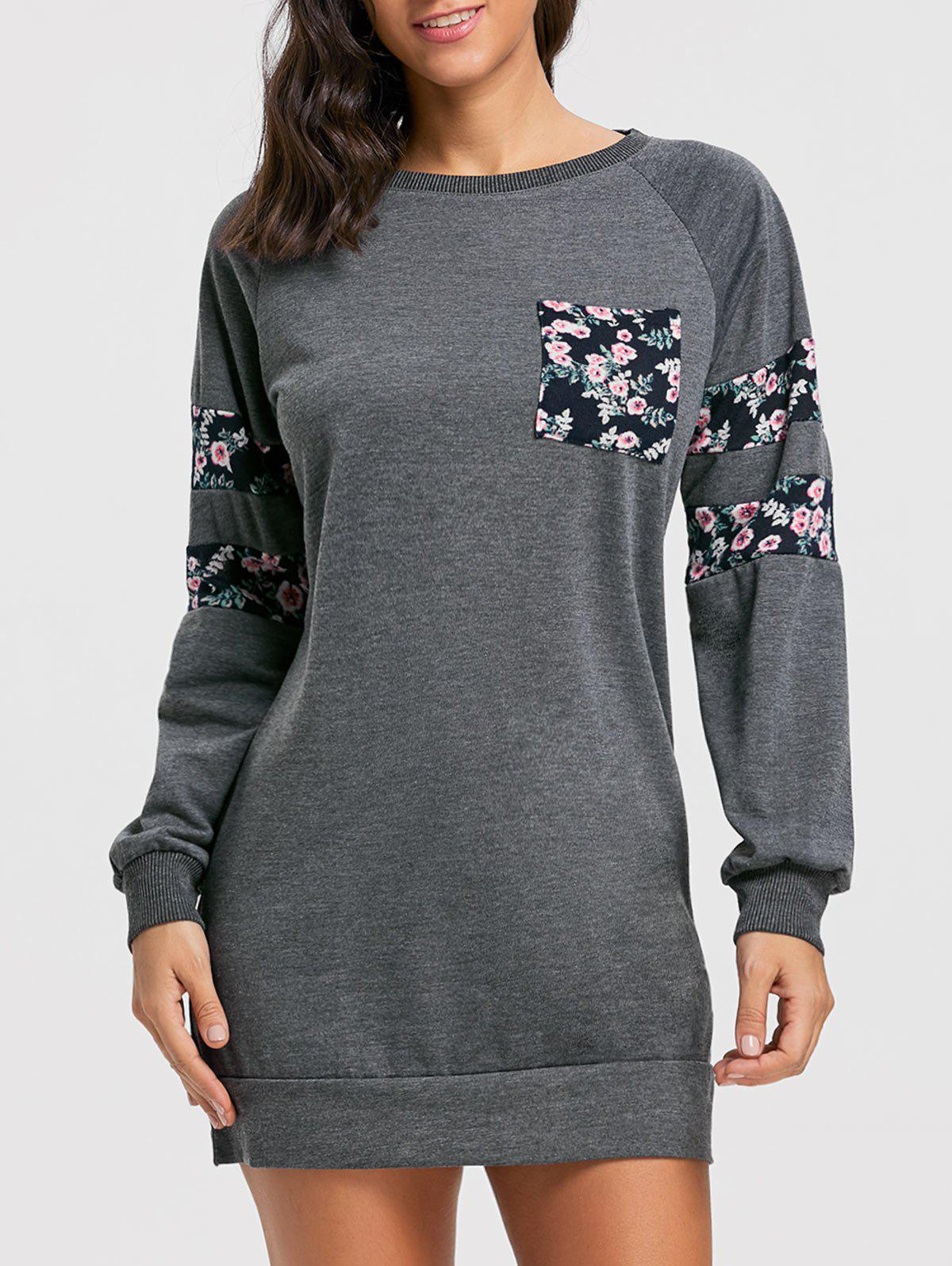 Crew Neck Floral Print Mini Sweatshirt Dress - DEEP GRAY M