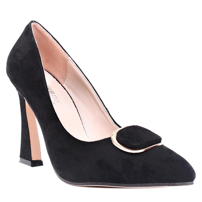 Super High Heel Buckle-toe Pumps - BLACK 38