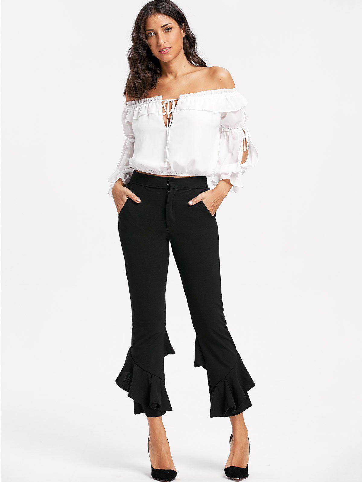 Layered Cropped Flare Pants - BLACK XL