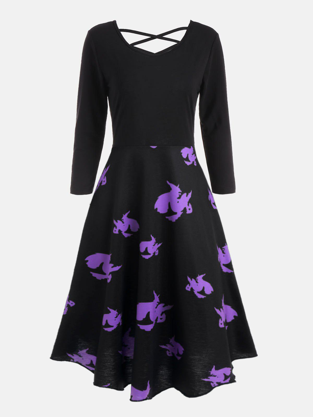 Cross Back Halloween Witches Print Flare Dress - BLACK XL