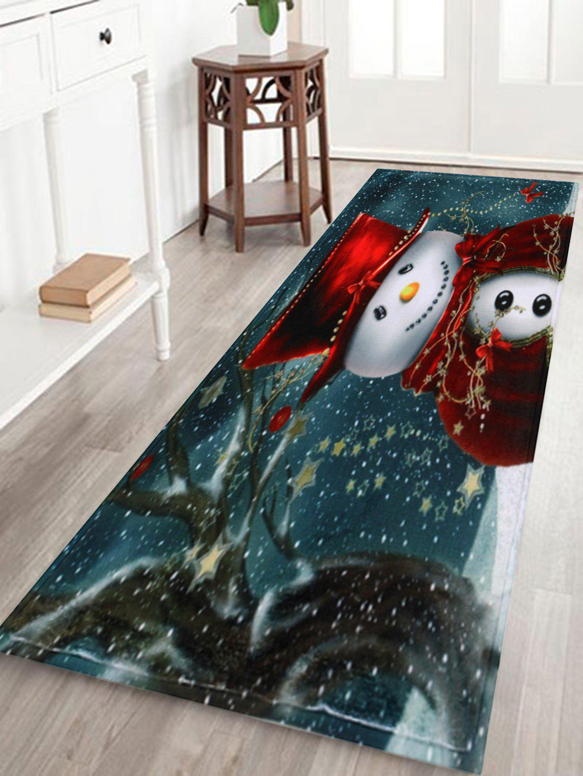 Skidproof Christmas Snowman Print Bath Mat - COLORMIX W16 INCH * L47 INCH