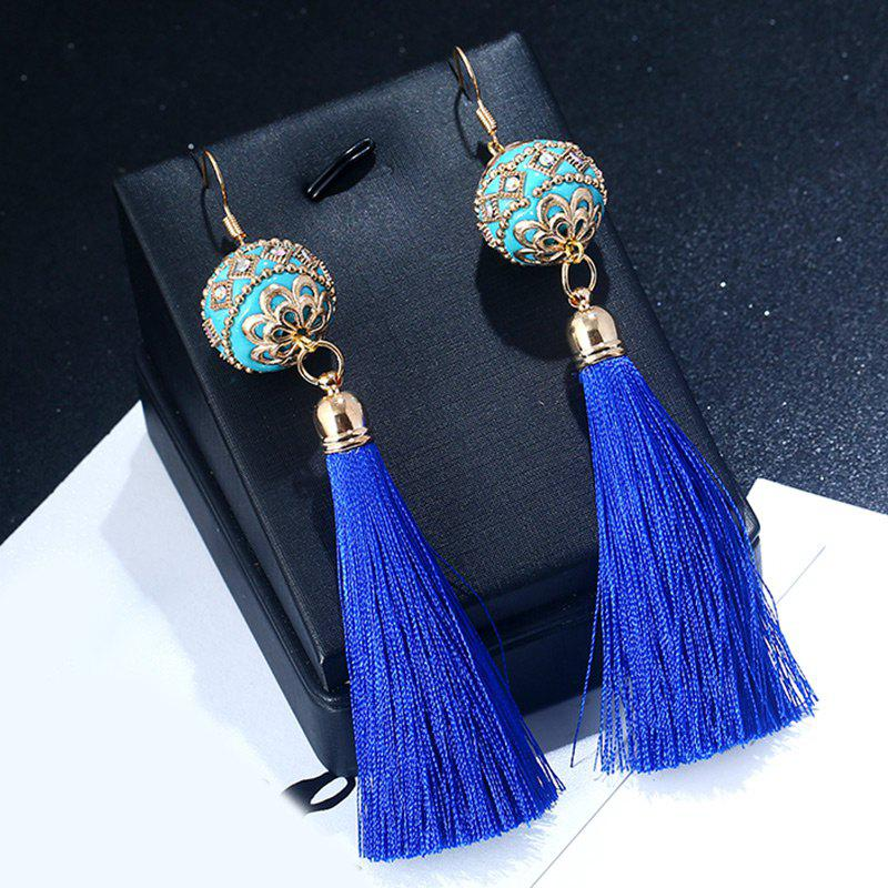 Rhinestone Vintage Ball Tassel Hook Earrings - BLUE