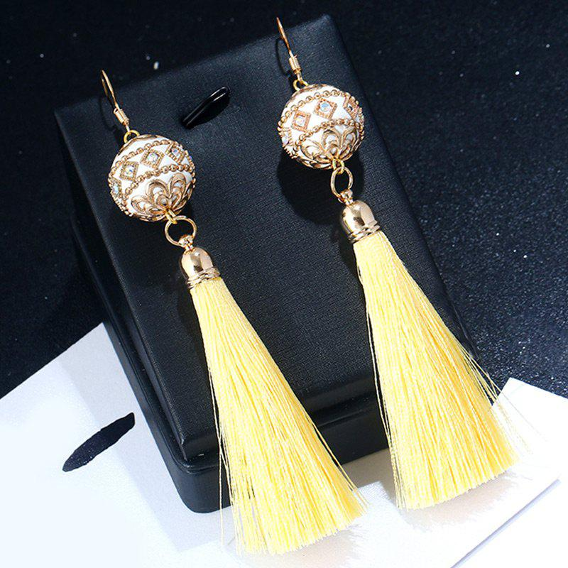 Rhinestone Vintage Ball Tassel Hook Earrings - LIGHT YELLOW