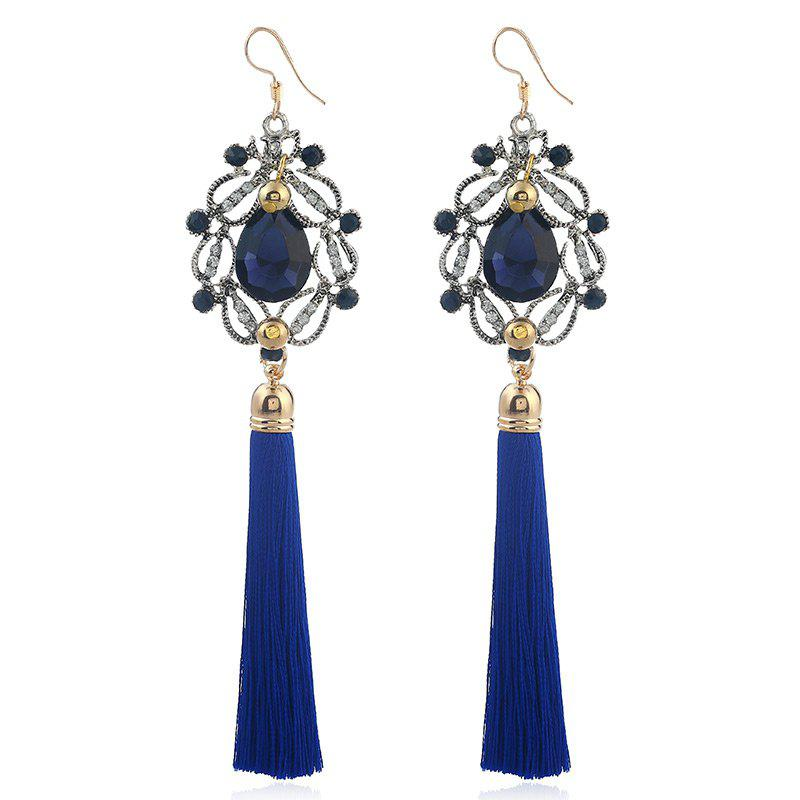 Artificial Gem Teardrop Tassel Hook Earrings - BLUE